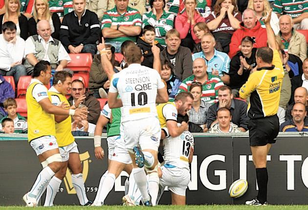 Ex marks the spot: The Exeter Chiefs players celebrate a Phil Dollman try
