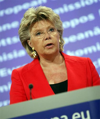 The EU Commissioner Viviane Reding punched her podium in anger during her condemnation of France yesterday
