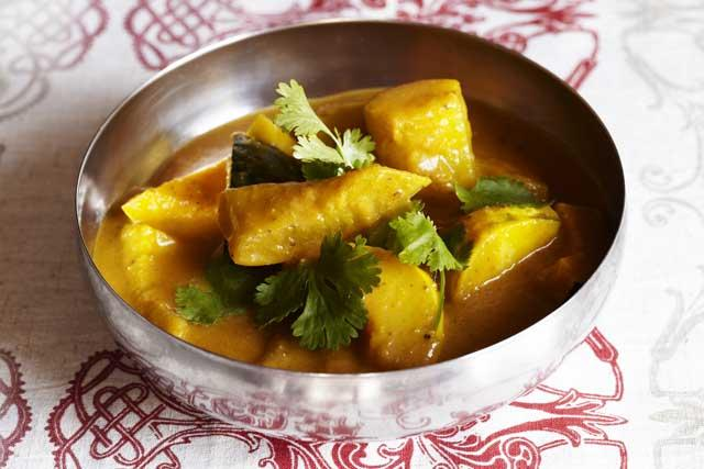 Serve squash curry with chopped coriander and basmati rice
