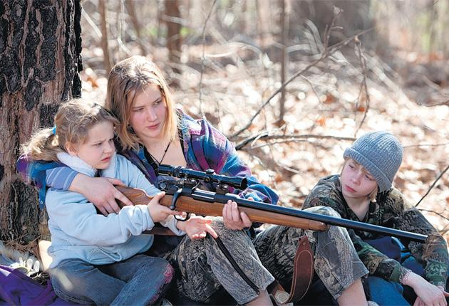 Gun shy: Ashlee Thompson, Jennifer Lawrence and Isaiah Stone as abandoned siblings in Winter's Bone
