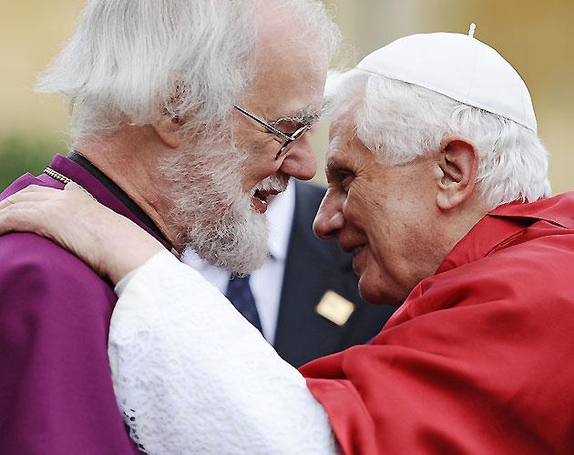 The Archbishop of Canterbury, Rowan Williams, greets Pope Benedict XVI at Lambeth Palace
