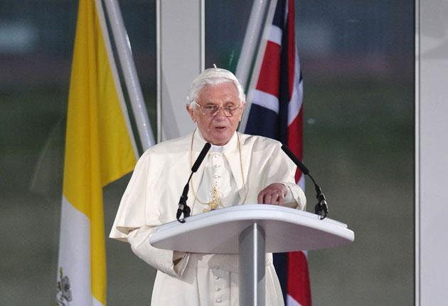 Pope Benedict XVI Pope Benedict XVI makes a farewell address prior to his departure at Birmingham  International Airport yesterday