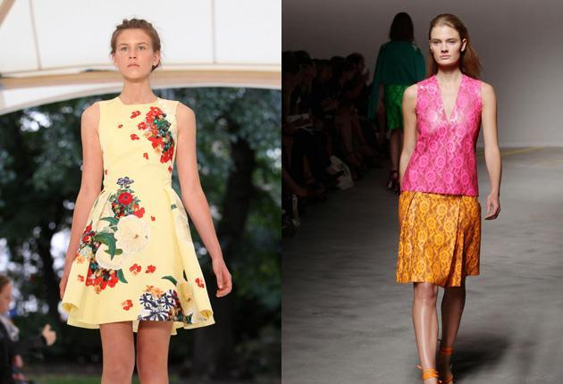 Designs for spring/summer 2011 by Erdem Moralioglu, left, and Christopher Kane