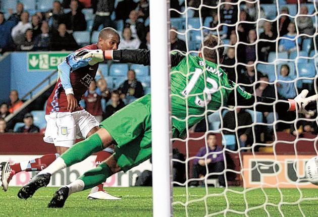 Ashley Young scores his second goal for Aston Villa