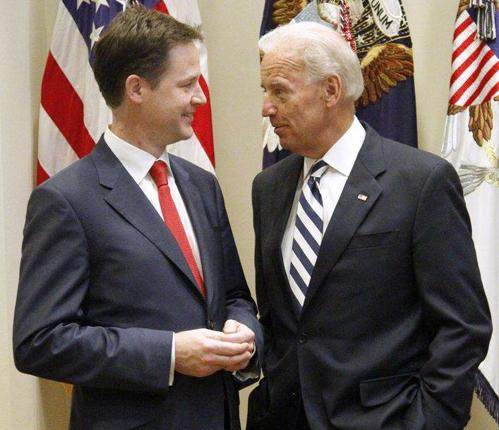 Vice President Joe Biden meets with British Deputy Prime Minister Nick Clegg