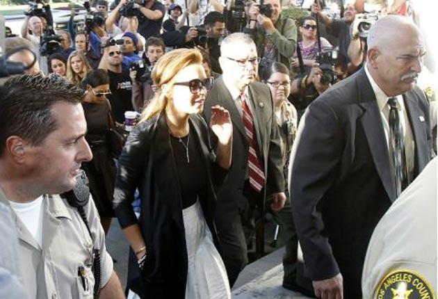 The Mean Girls star arriving at the Beverley Hills courthouse earlier today