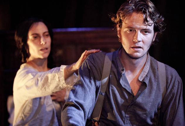 Elena Roger shows astonishing virtuosity as a transformed crone, left with David Thaxton in 'Passion'