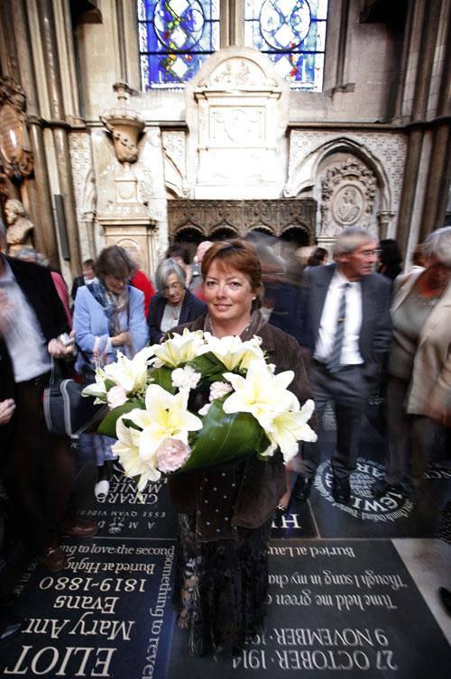 Sarah Prince at Westminster Abbey yesterday for the dedication to Elizabeth Gaskell