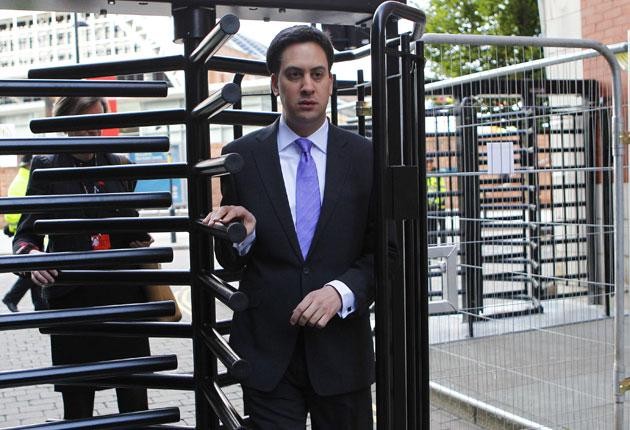 The Labour leader Ed Miliband going into the party's conference in Manchester yesterday