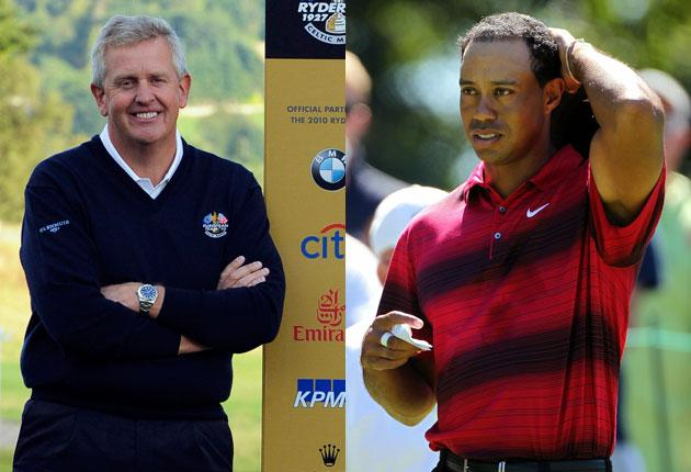 Colin Montgomerie, European captain, and Tiger Woods