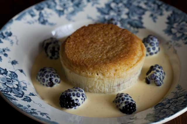 Blackberry bread and butter pudding