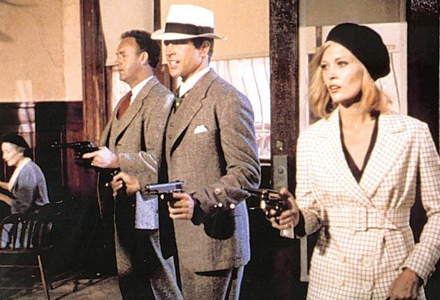 Above, Warren Beatty, centre, and Faye Dunaway as Bonnie and Clyde.