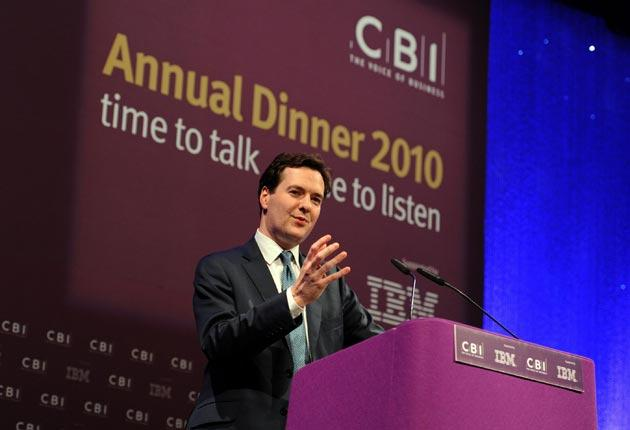 Chancellor George Osborne speaks at the CBI's annual dinner in May of this year