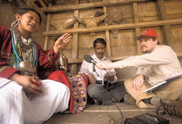 Kachim, a Koro speaker, talks to linguist Gregory Anderso