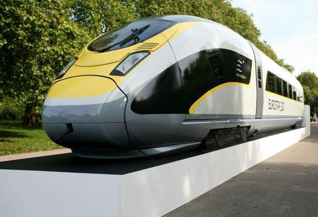 A Eurostar 320 train stands in Hyde Park in London