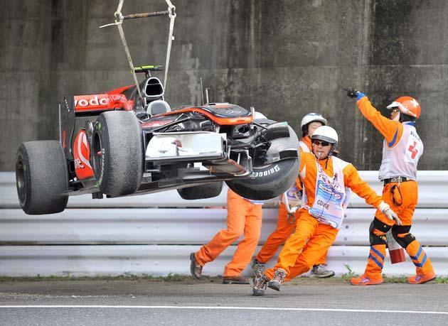 Hamilton crashed during practice