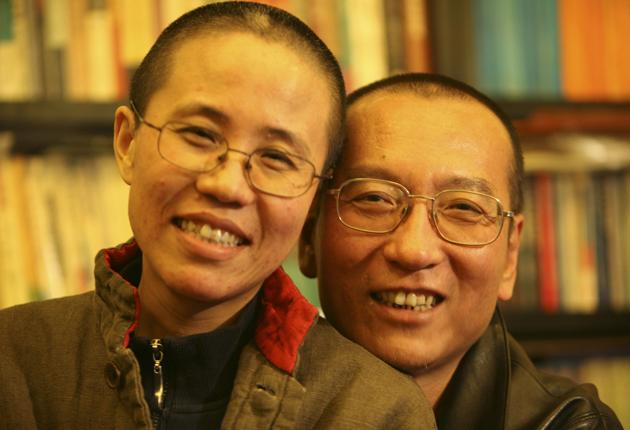 The winner of this year's Nobel Peace Prize, Liu Xiaobo, right, with his wife Liu Xia