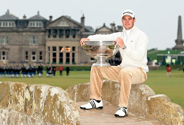 Martin Kaymer on the Swilken Bridge after his victory in the Dunhill Links Championship at St Andrews yesterday