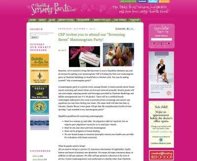 An invite to a mammogram party in Charlotte, North Carolina
