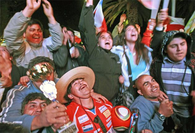 Ecstatic crowds celebrate the miners' rescue