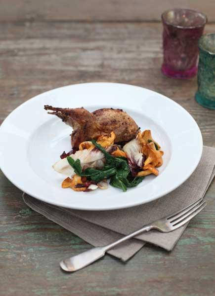 Quail with girolle mushrooms and spinach