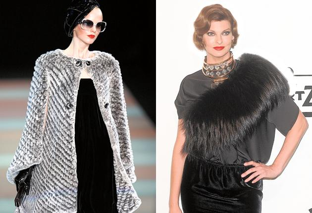 Can you tell the difference? The Armani coat is fake, while Linda Evangelista, right, wears the real thing