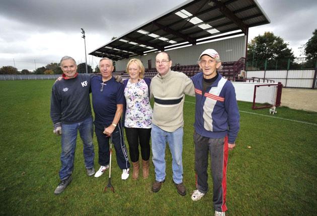 (Left to right) president Ken Fisher, kit manager Johnny Johnson, press officer Karen Muir, steward Phil Harris and groundsman Alan Halfacre