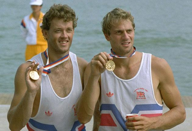 Holmes, left, and Steve Redgrave at the 1988 Olympic Games