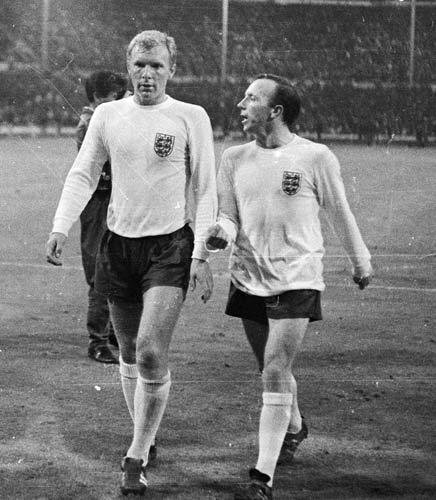 Stiles pictured with Bobby Moore during the World Cup
