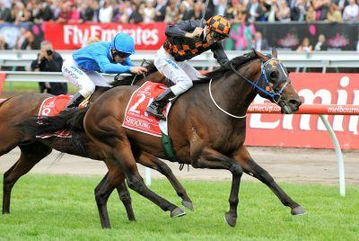 Jockey Corey Brown (R) powers to victory in the Melbourne Cup on his horse Shocking in 2009.