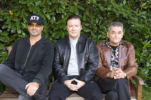 Gerard Kelly (right) with George Michael and Ricky Gervais in Extras
