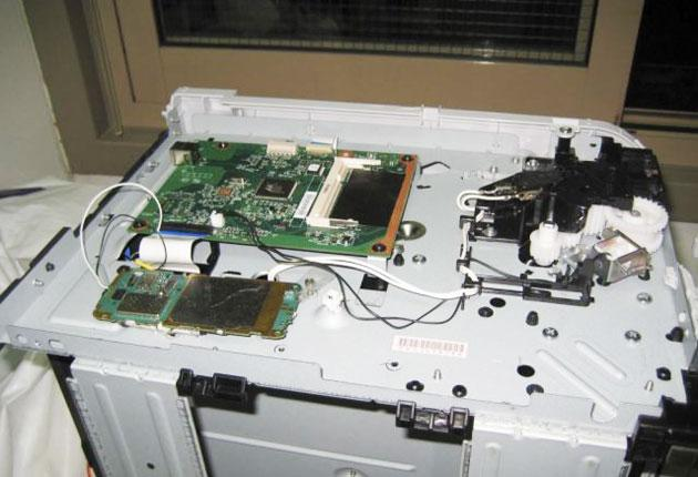 A printer reportedly wired up with explosives which was contained in a parcel intercepted by Dubai security officials