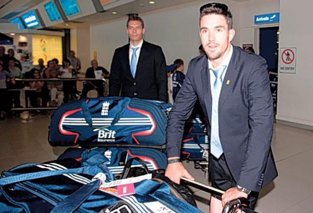 England batsman Kevin Pietersen arrives at Perth airport on Saturday