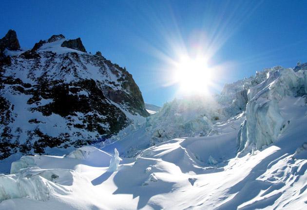 The world's longest lift-served ski run, the Vallée Blanche, descends for 22km (13.6 miles) into Chamonix