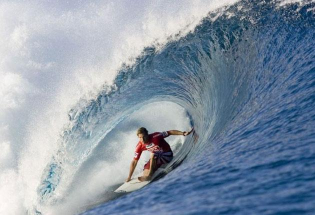 A movie star among the masses: Irons on the Billabong Pro Tour at Teahupoo, Tahiti, in 2006