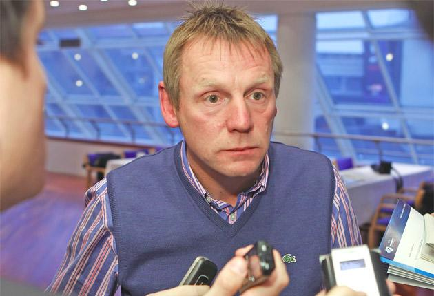 Stuart Pearce appears less confident than normal at the Euro 2011 draw yesterday