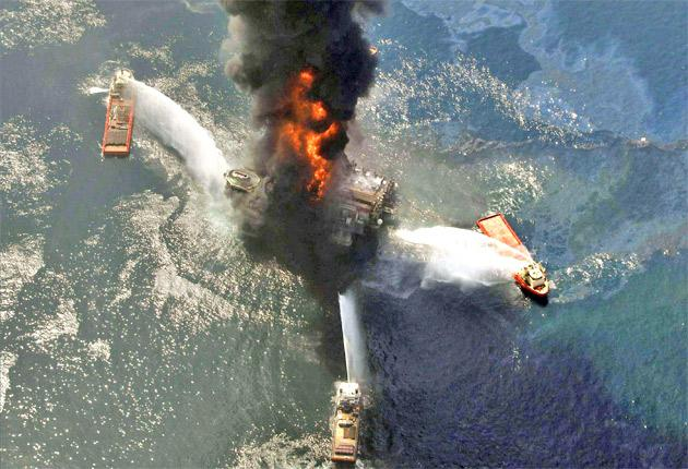 The Deepwater Horizon oil rig ablaze in April after the explosion in the Gulf of Mexico, off the south-east tip of Louisiana