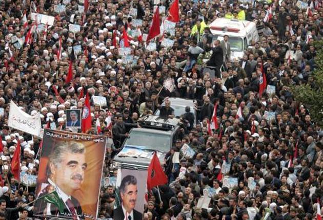 Crowds at the funeral of Lebanon's murdered former prime minister Rafiq Hariri in Beirut in February 2005