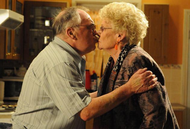 Jack Duckworth (Bill Tarmey) waltzes out of Corrie with the spirit of deceased wife Vera (Elizabeth Dawn)