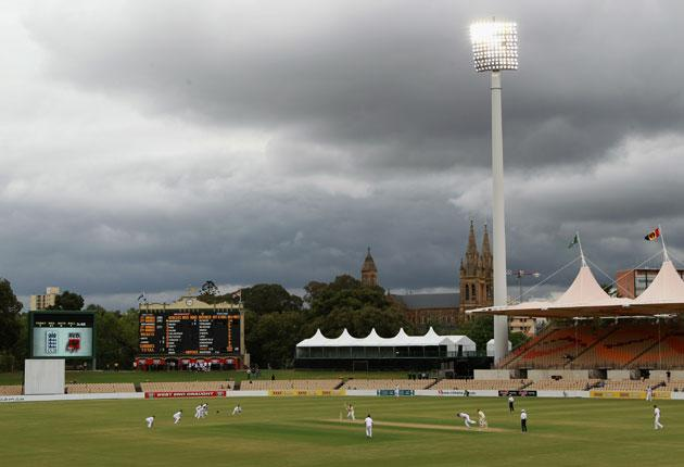 England bowl at the Adelaide Oval during yesterday's draw. The seamers are likely to head to Brisbane while the batters get match practice in Hobart