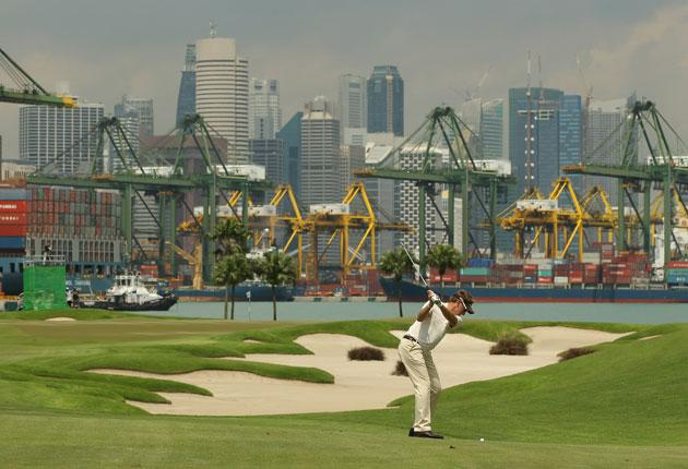 Ian Poulter during the third round of the Barclays Singapore Open