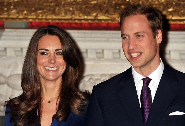 Prince William and Kate Middleton during a photocall in the State Apartments of St James's Palace