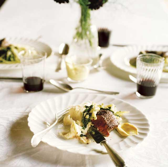Grilled fillet steak with buttermilk mashed potato and slow-cooked chard