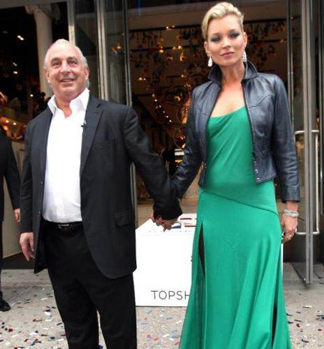 Sir Philip Green with supermodel Kate Moss, who designed a fashion line for Topshop one of the stores owned by Sir Philip's retail group, Arcadia