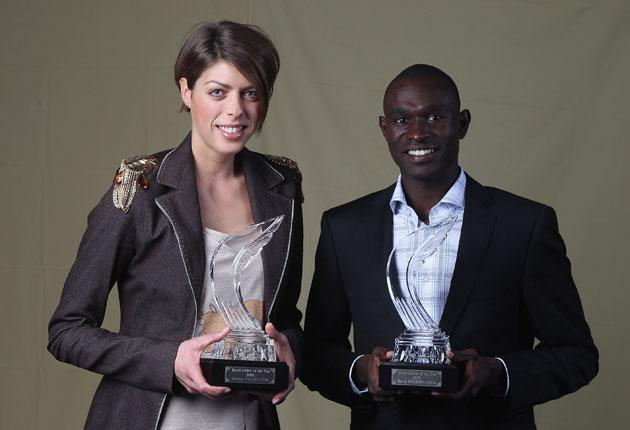 David Rudisha (R) and Croatian high jumper Blanka Vlasic (L) have won the IAAF World Athlete of the Year awards