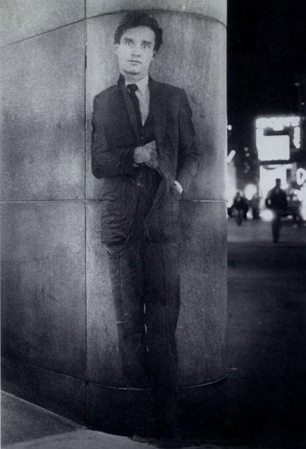 A life-size photograph of Hambleton in Times Square, New York, 1980