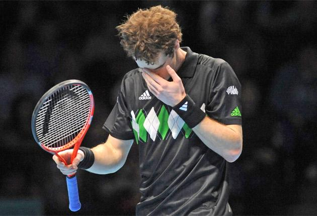 Andy Murray feels the pressure at the O2 yesterday