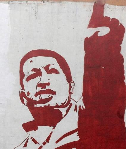 One of the many murals in Caracas depicting the Venezuelan President Hugo Chavez