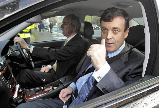 Irish Finance Minister Brian Lenihan arrives for a cabinet meeting in Dublin yesterday