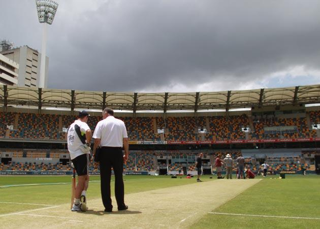 England captain Andrew Strauss at The Gabba yesterday